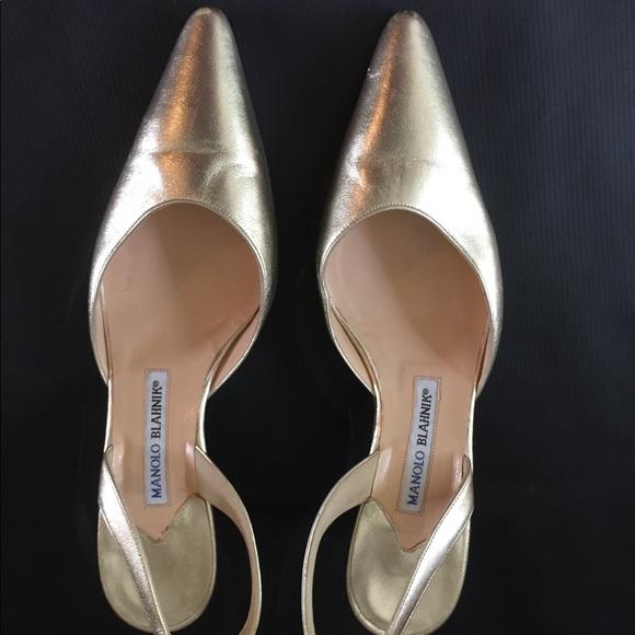 ae3ddfcab5 Manolo Blahnik Shoes | Carolyne Gold Sling Back Heels | Poshmark
